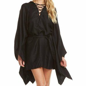 Chaser Beachy Linen Lace Up Dolman Hooded Tunic